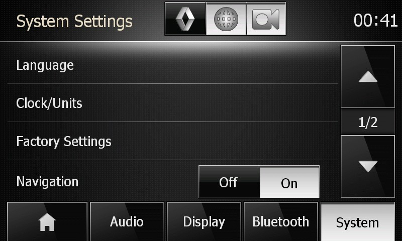 Menaco settings buttons